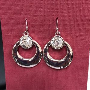Silver earrings with crystal stone detail